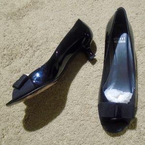 STUART WEITZMAN Patent Bow Peep Toe Kitten Heels